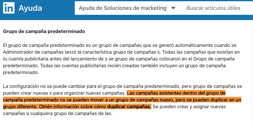 Explicacion limitacion reasignacion grupos campañas en documentacion oficial de LinkedIn