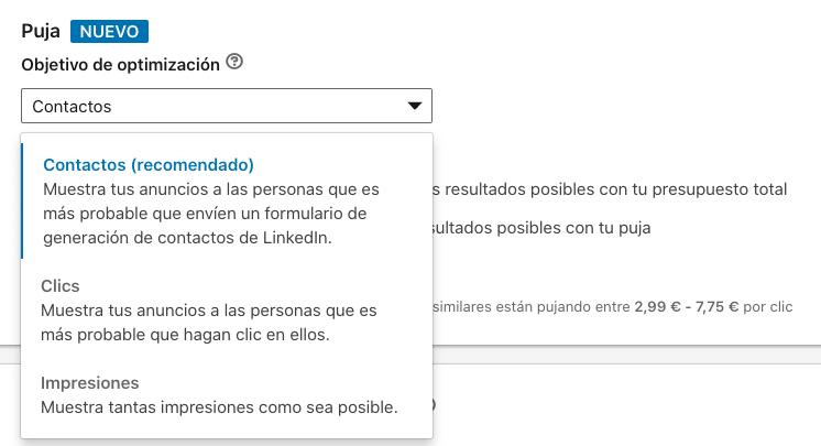 LinkedIn Ads Novedades Septiembre: Opciones de puja disponibles para campaña en LinkedIn Ads con objetivo generacion de leads