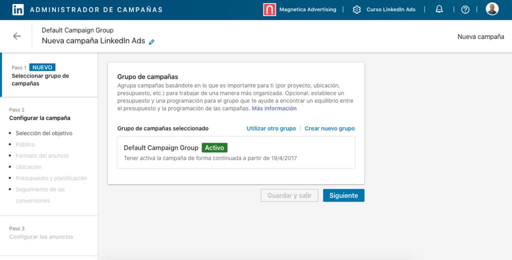 LinkedIn Ads Novedades Septiembre: Paso 1 Seleccion Grupo de Campañas en Administrador de Campañas de LinkedIn