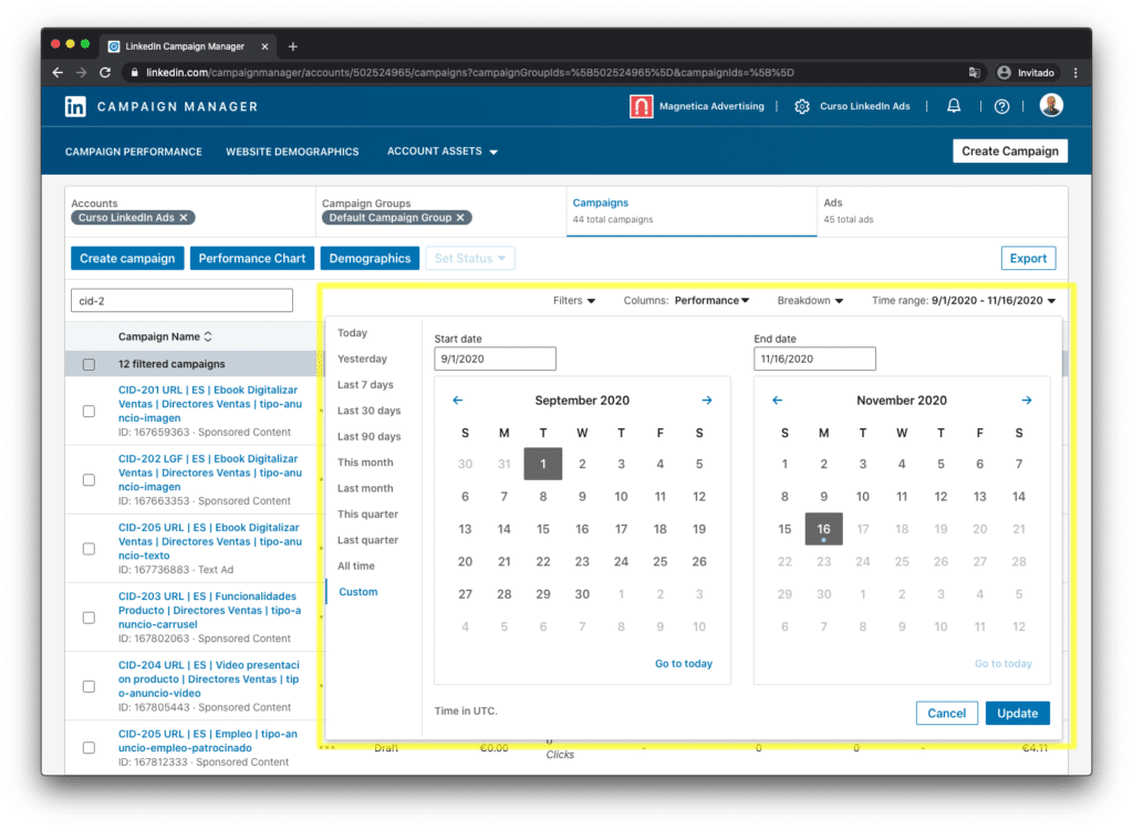 Revamped interface to select a date range in LinkedIn campaign manager