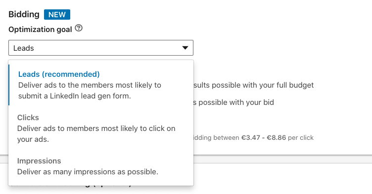 Optimization goal options available for lead gen campaigns on LinkedIn