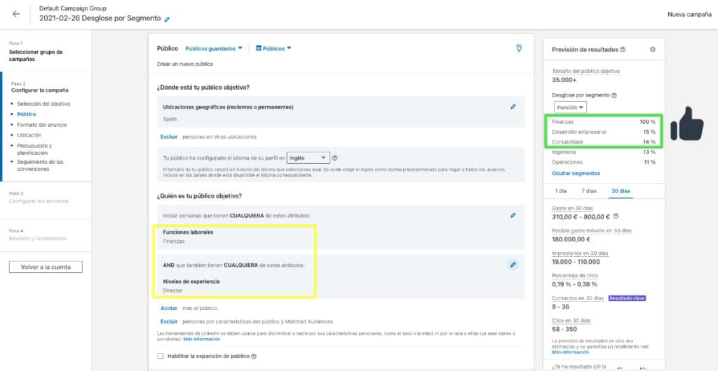 """Comportamiento actual del """"Desglose por segmento"""" en LinkedIn: muestra los valores con mayor peso."""