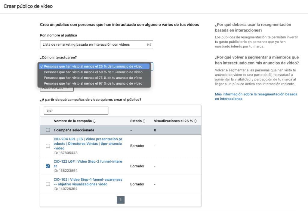 Creación de lista de remarketing basada en la interacción con videos en LinkedIn Ads