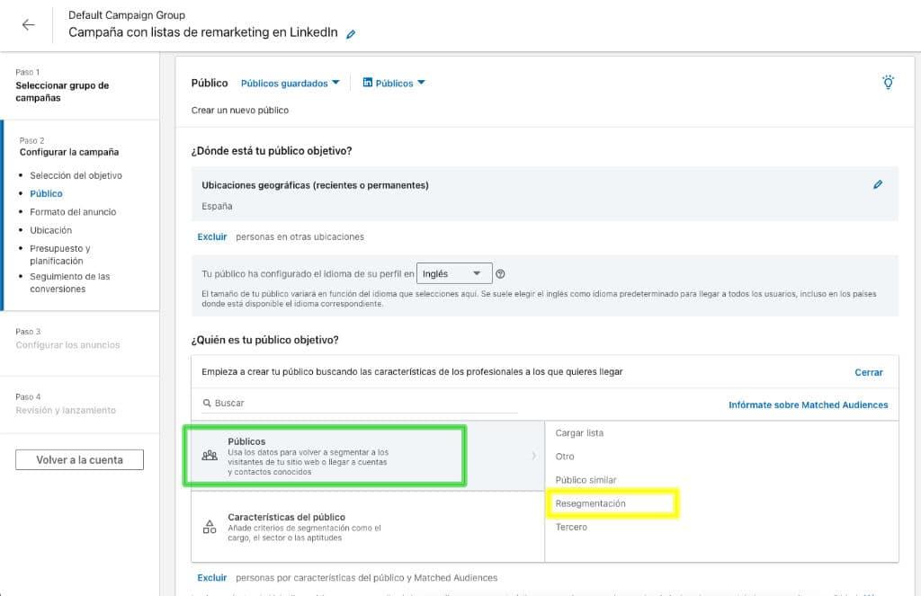 Opción de segmentación en LinkedIn Ads para crear campañas de remarketing