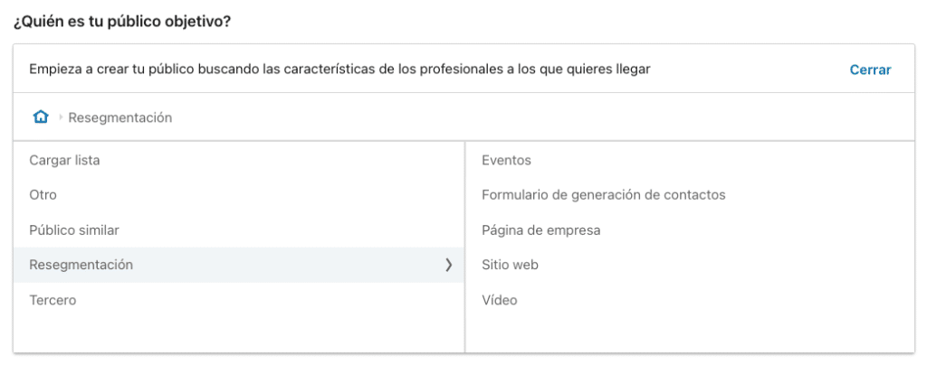 Opciones de resegmentacion en LinkedIn