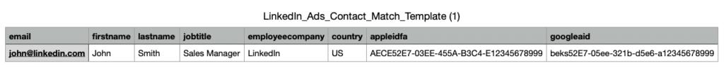 Plantilla para cargar un listado de contactos en LinkedIn