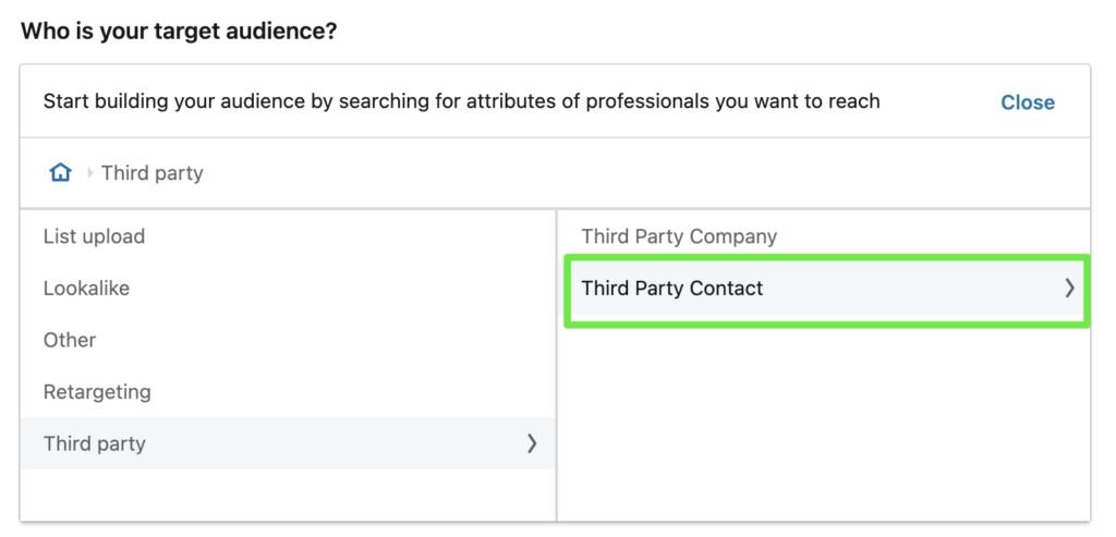 How to select a contact list from your CRM in LinkedIn Campaign Manager