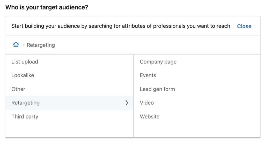 Retargeting Options on LinkedIn Campaign Manager