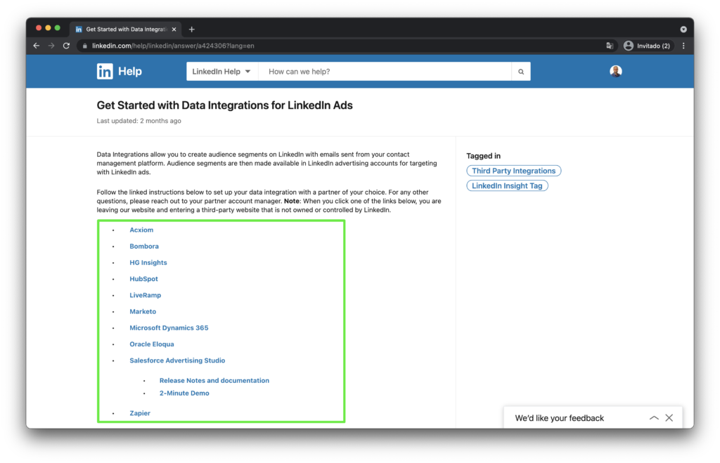 List of CRMs with native integration with LinkedIn Campaign Manager