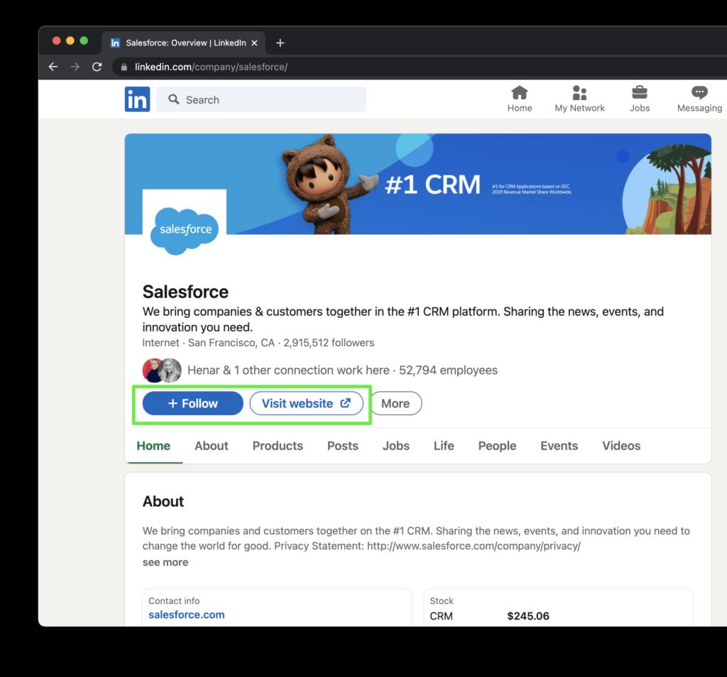 Salesforce Company Page on LinkedIn