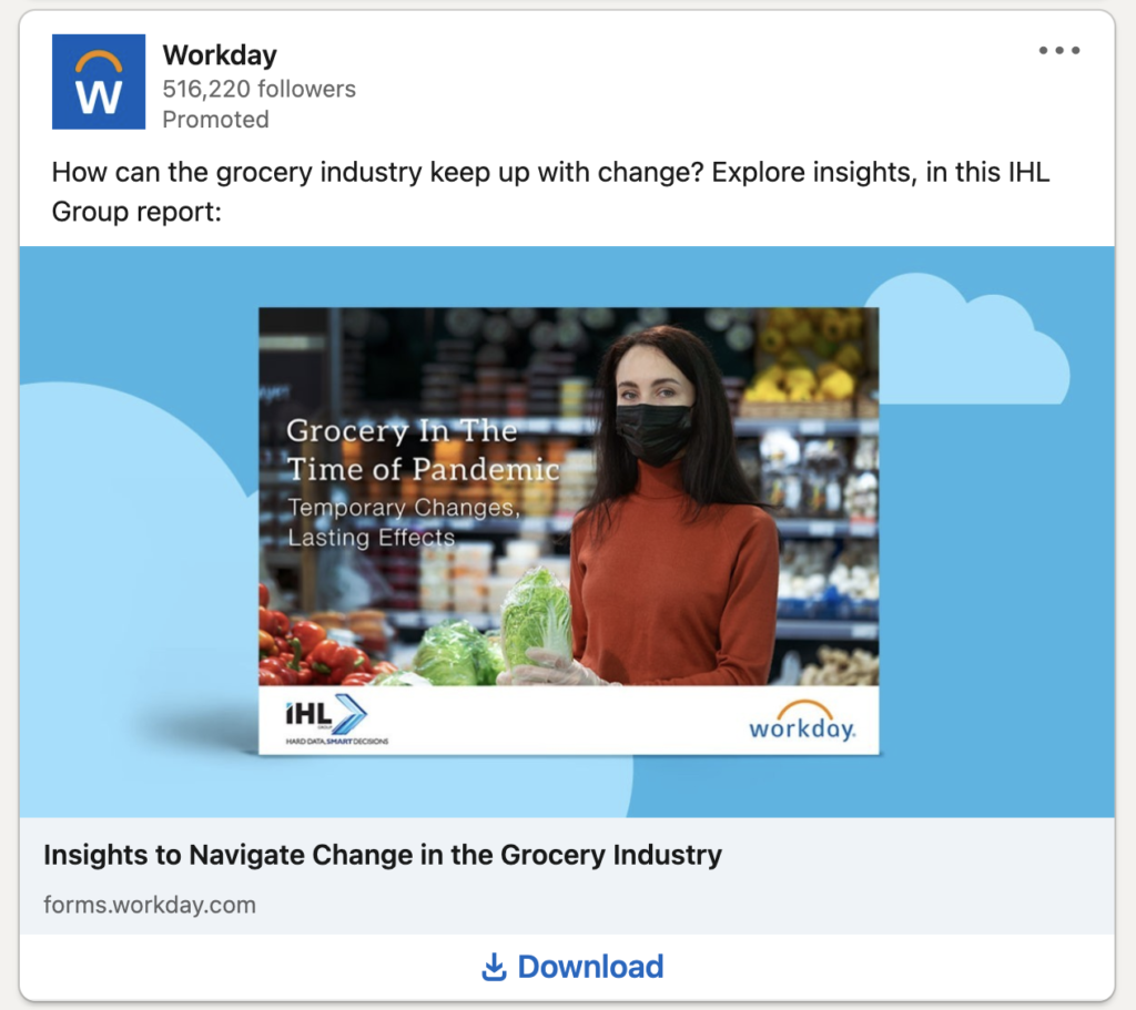 Workday Ad on LinkedIn using Lead Gen Form format